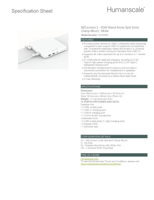 mconnect 2 docking station specification