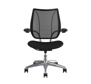 Freedom Task Chair Polished Aluminium Black Fabric