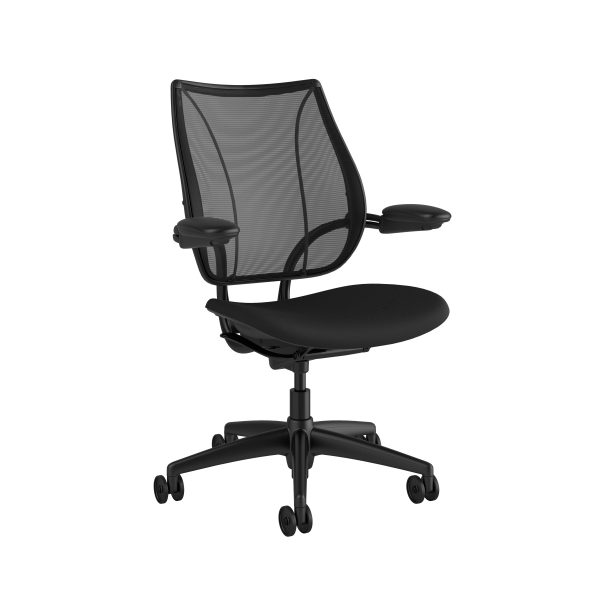 Liberty Task Chair Black Frame Black Fabric Side View