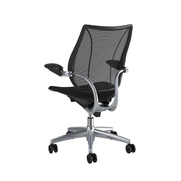 Liberty Task Chair Polished Aluminium Black Fabric Rare View