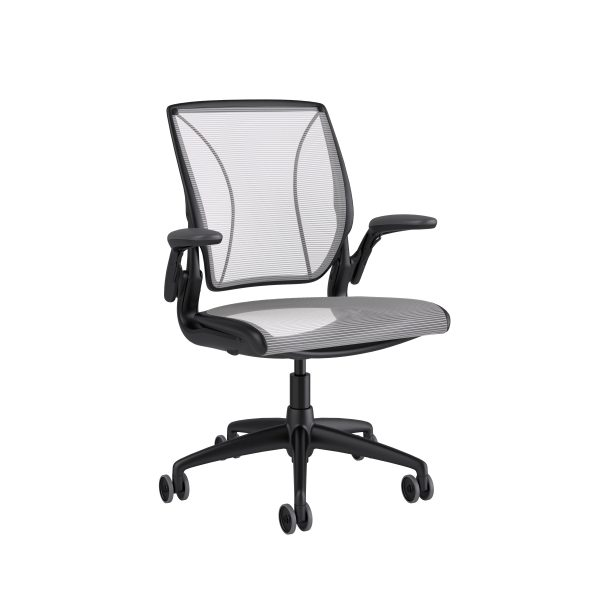 Diffrient World Chair Black Frame White Mesh Side View