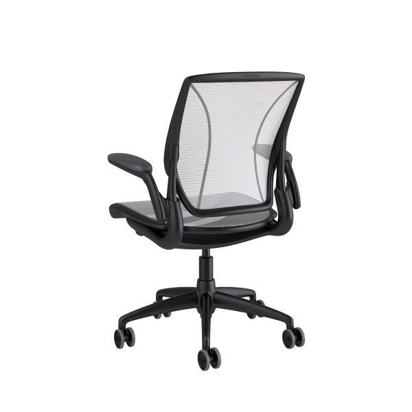 Diffrient World Chair Black Frame White Mesh Rare View