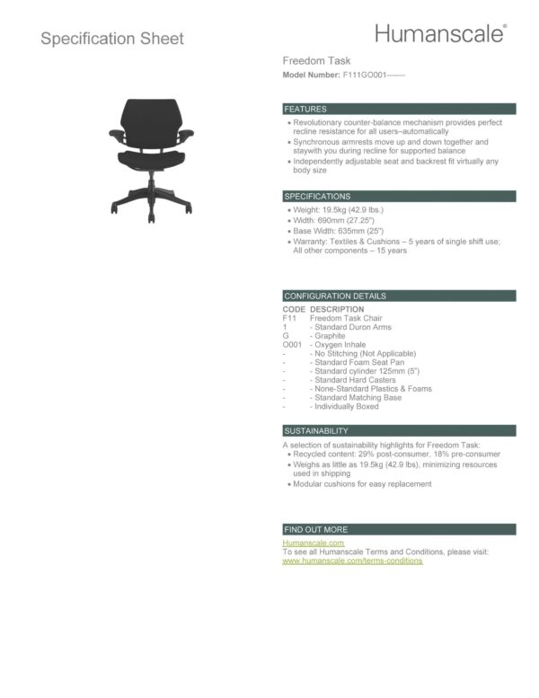 Freedom Task Chair Specification