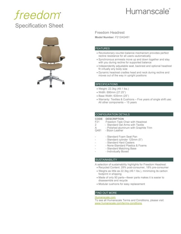 Freedom Headrest Office Chair Cream Leather Specifications