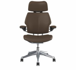 Freedom Headrest Office Chair Polished Aluminium Frame Leather Bizon Miso Textile