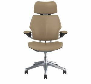 Humanscale Freedom Headrest Office Chair Polished Aluminium Frame Leather Bizon Cream Textile Front View