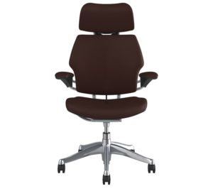 Humanscale Freedom Headrest Office Chair Polished Aluminium Frame Leather Bizon Brown Textile