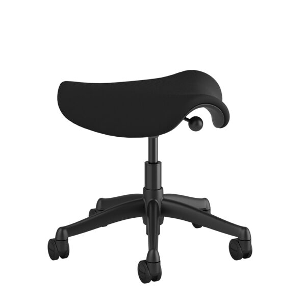 Humanscale Saddle Stool - Graphite Frame - Black Fabric Side View