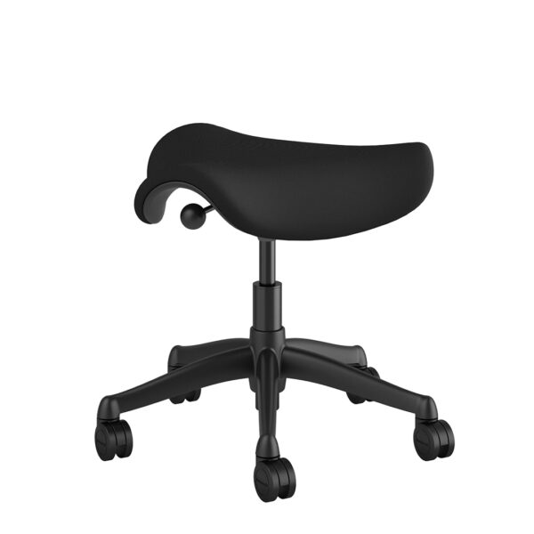 Humanscale Saddle Stool - Graphite Frame - Black Fabric Rare View