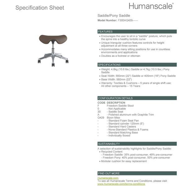 SADDLE STOOL - Polished Aluminium - Bizon 429 Specifications