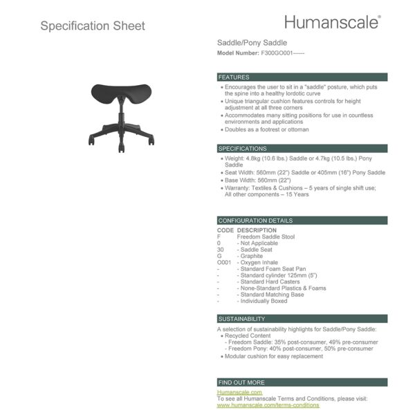 Humanscale Saddle Stool - Graphite Frame - Black Fabric Specification