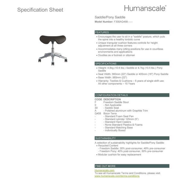 SADDLE STOOL - Polished Aluminium - Bizon 458 Specification