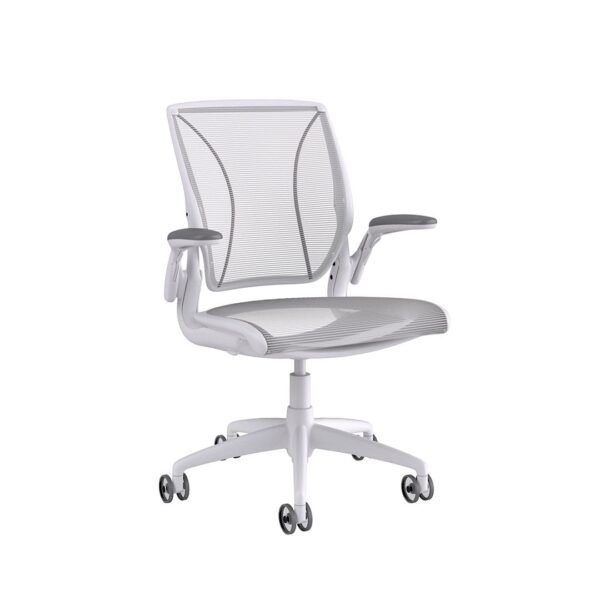 Humanscale Diffrient World Chair White Frame White Mesh Sideview