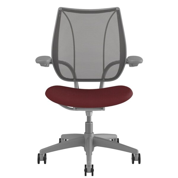 Liberty Task Chair Silver Frame – Maroon Fabric