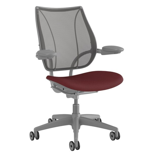 Liberty Chair Silver Frame – Maroon Fabric Side View