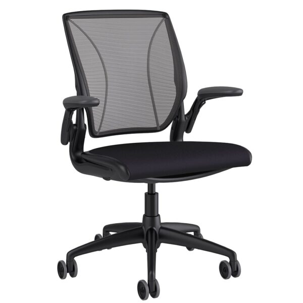 Diffrient World Chair Black Frame - Black Fabric Side View