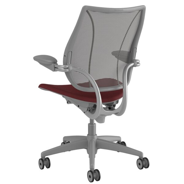 Liberty Task Chair Silver Frame – Maroon Fabric Rare View