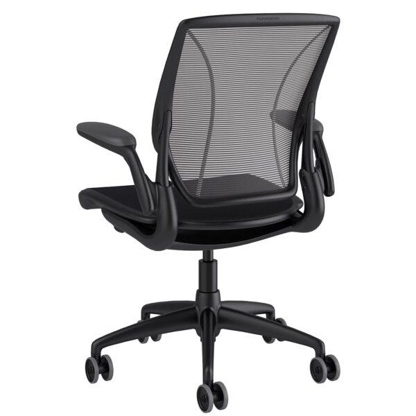 Diffrient World Chair Black Frame - Black Fabric Rare View