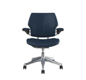 Freedom Task Chair Polished Aluminium Twilight Blue