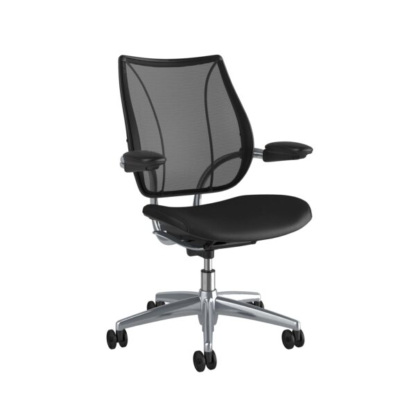 Humanscale Liberty Task Chair | Polished Aluminium – Black Leather Side View