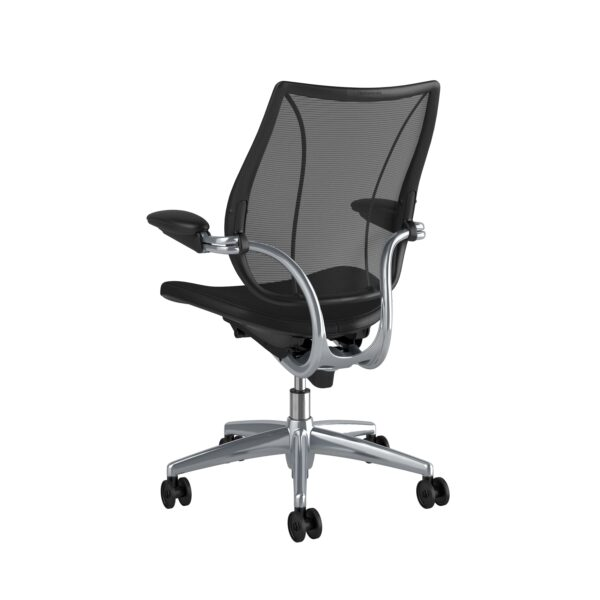 Humanscale Liberty Task Chair | Polished Aluminium – Black Leather Rare View