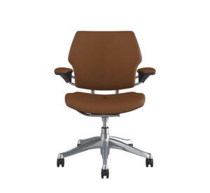 Freedom Task Chair Polished Aluminium Corvara Saddle Tan