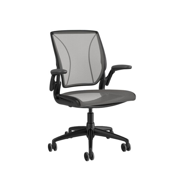 Diffrient World Chair - Black Frame Silver Mesh Side View