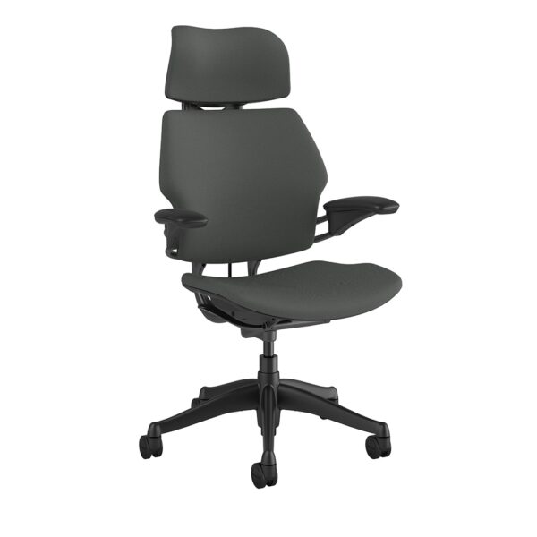 Freedom Headrest Graphite Frame Oxygen Grey Fabric Side View