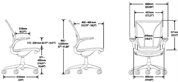 Humanscale World One Task Chair Dimention