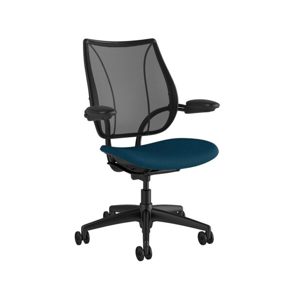 Liberty Task Chair Black Frame Blue Fabric Side View
