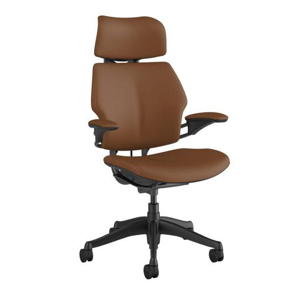 Freedom Headrest - Graphite Frame – Corvara Leather Saddle Tan Side View