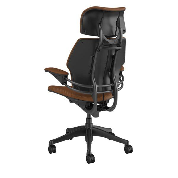 Freedom Headrest - Graphite Frame – Corvara Leather Saddle Tan Rear View